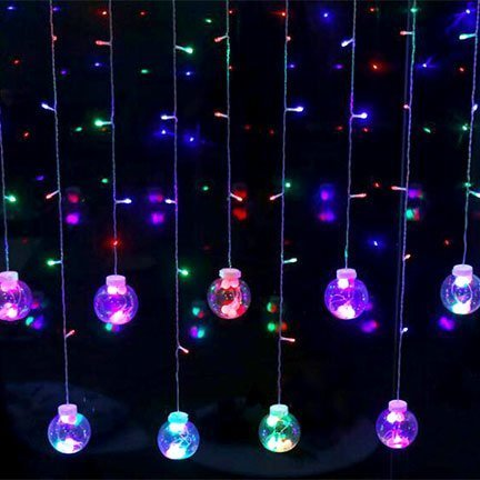 fairy lights curtain string with ball