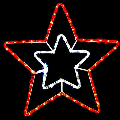 2 layer Christmas star lights LED rope motif hanging decor