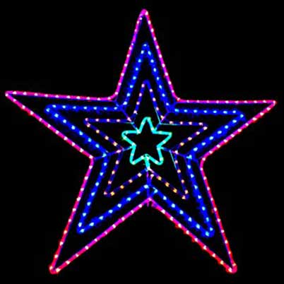 4 layers Xmas star lights LED rope motif outdoor decor