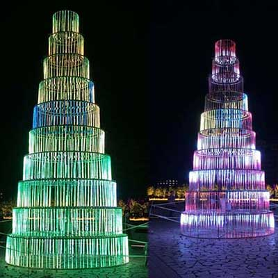 customized giant Christmas tree lights sculpture outdoor decor