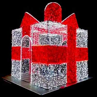 outdoor giant Christmas lighted gift box LED christmas sculpture