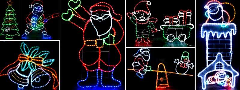 LED rope lights animated Christmas motif