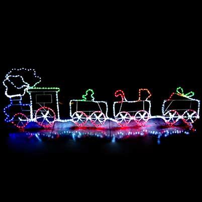 LED santa's toy train rope lights motif silhouette