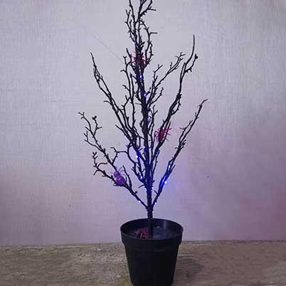 Black Halloween tree with purple lights