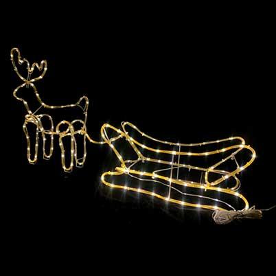 Christmas deer motif lights with sleigh