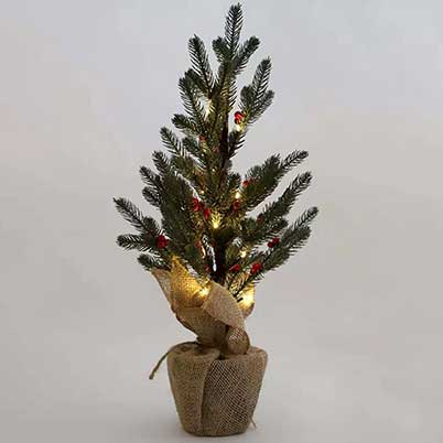 artificial christmas tree with burlap base