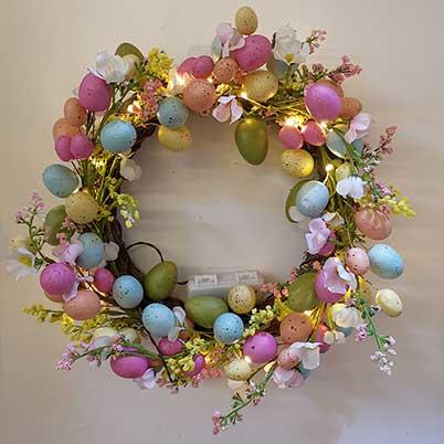 Easter door wreath with lights