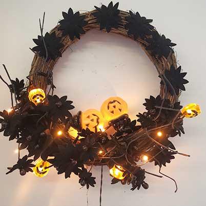Halloween wreath supplies black bat, pumpkin oranments Halloween wreath
