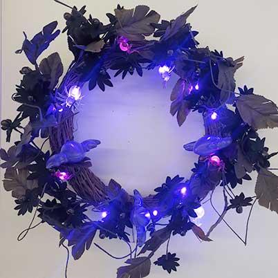 Purple led lighted black wreath Halloween decorations