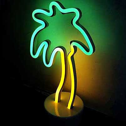 LED neon coconut-tree lights